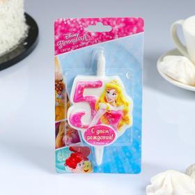 "Свеча для торта цифра ""Disney. Принцесса Аврора"" ""5"" розовая"
