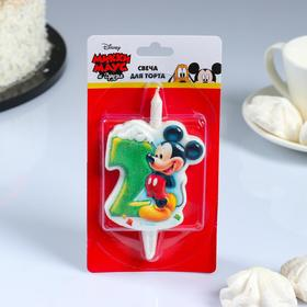 "Свеча для торта цифра ""Disney. Микки"" ""2"" зелёная"