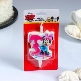 """Свеча для торта цифра """"Disney. Микки"""" """"3"""" розовая"""