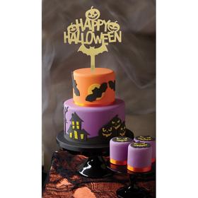 """Топпер в торт """"Счастливого хэллоуина"""", фетр"""