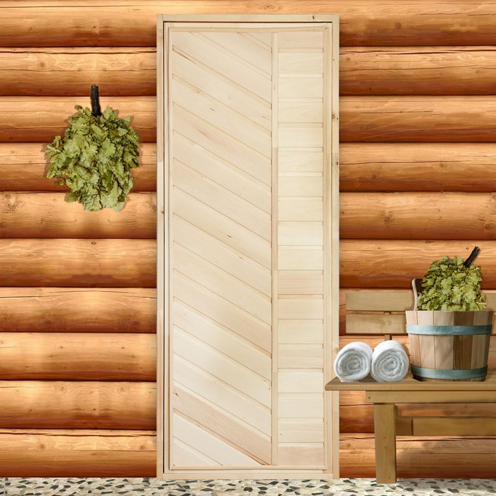 """Дверь для бани """"Диагональ"""", 190х70см"""