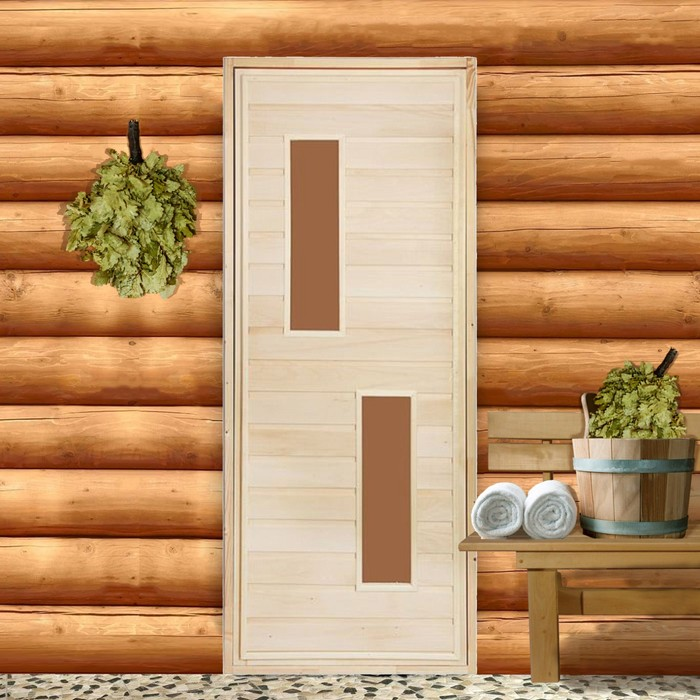 """Дверь для бани и сауны """"Два стекла"""", 160х70см"""