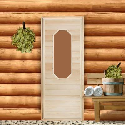 """Дверь для бани со стеклом """"Ромашка"""", 160×80см"""