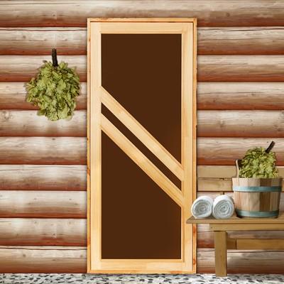"""Дверь для бани со стеклом """"Диагональ"""", 170×80см"""