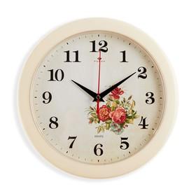 "Часы настенные круглые""Розы"", белый обод, 23х23 см Рубин"