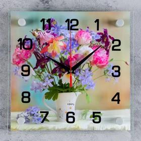 """Часы настенные, серия: Цветы, """"Букет цветов"""", 25х25  см, микс"""