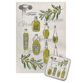 Кухонный набор Оливковое масло (полотенце 45х60+прихватка 18х18) полулен, 160г/м