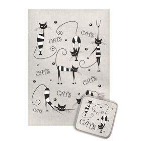 Кухонный набор Коты полосатые (полотенце 45х60+прихватка 18х18) полулен, 160г/м