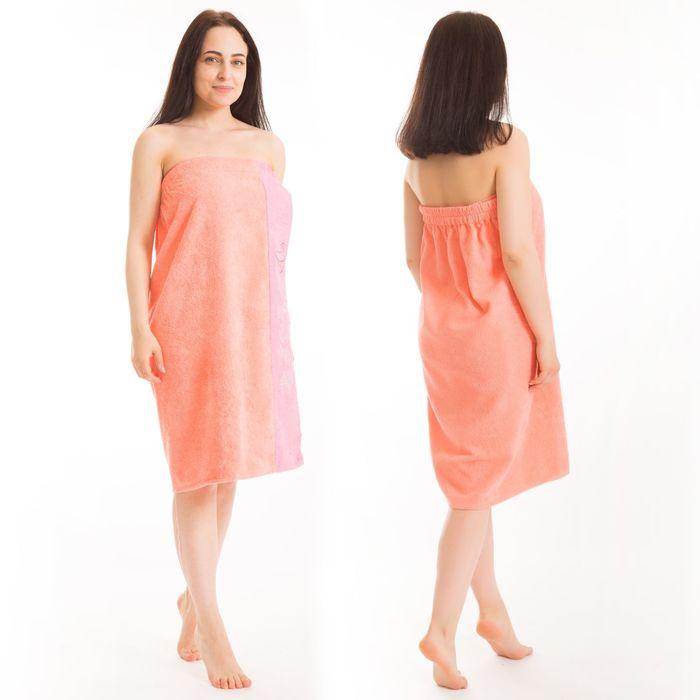 Килт(юбка) жен. махр., вышивка, арт:КМ-5, 80х160 персик, Хл, 300г/м