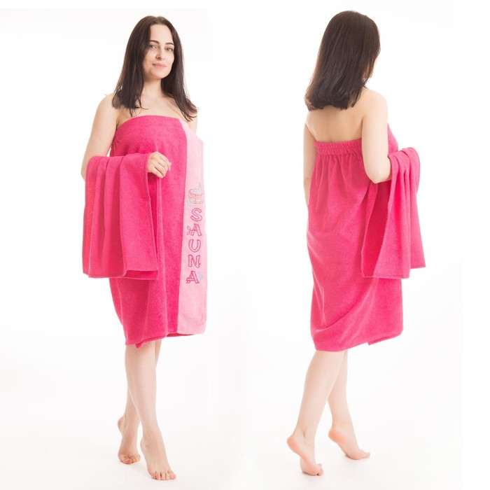 Набор д/сауны махр. жен (Килт(юбка)80х160, полотенце 50х90), цвет малиновый