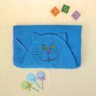 Полотенце-накидка махровое котик, 75×125 см, голубой, Хл, 300 г/м²