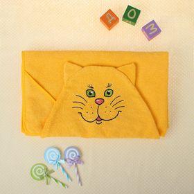 Полотенце-накидка махровое котик, 75×125 см, желтый, Хл, 300 г/м²