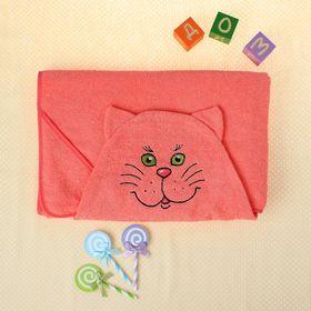 Полотенце-накидка махровое котик, 75×125 см, персик, Хл, 300 г/м²