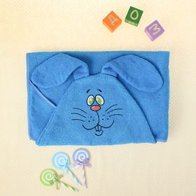 Полотенце-накидка махровое зайчик, 75×125 см, голубой, Хл, 300 г/м²