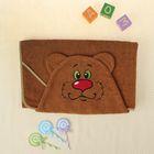 Полотенце-накидка махровое мишка, 75×125 см, коричневый, Хл, 300 г/м²