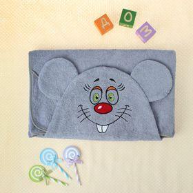 Полотенце-накидка махровое мышка, 75×125 см, серый, Хл, 300 г/м²