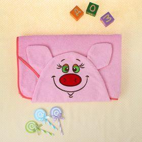 Полотенце-накидка махровое хрюшка, 75×125 см, розовый, Хл, 300 г/м² Ош