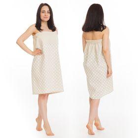 Килт(юбка) жен. комбинированный, арт:КЛ-11 75х145 горошек, полулён, Хл50%, лён50%, 160 г/м