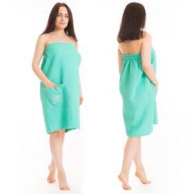 Килт(юбка) жен. вафельный однотон, вышивка, арт:КВ-4В бирюза. 80Х150, Хл, 215 г/м