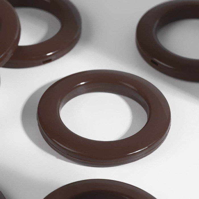 Люверсы для штор, d = 4/6,5 см, 10 шт, цвет коричневый