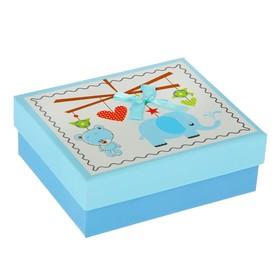 "Коробка подарочная ""Слоник"", голубой, 12 х 14 х 5 см в Донецке"