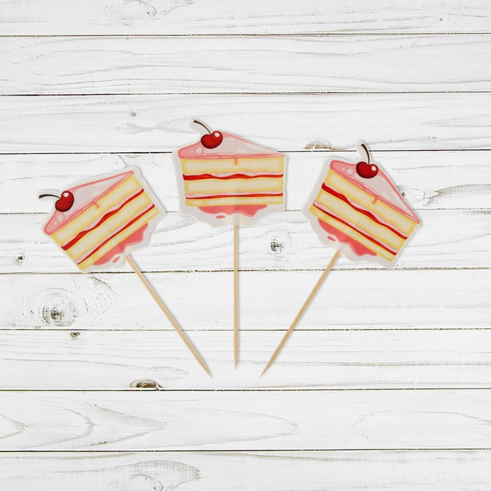 """Пика для канапе """"Тортик"""" с ягодкой, набор 24 шт."""