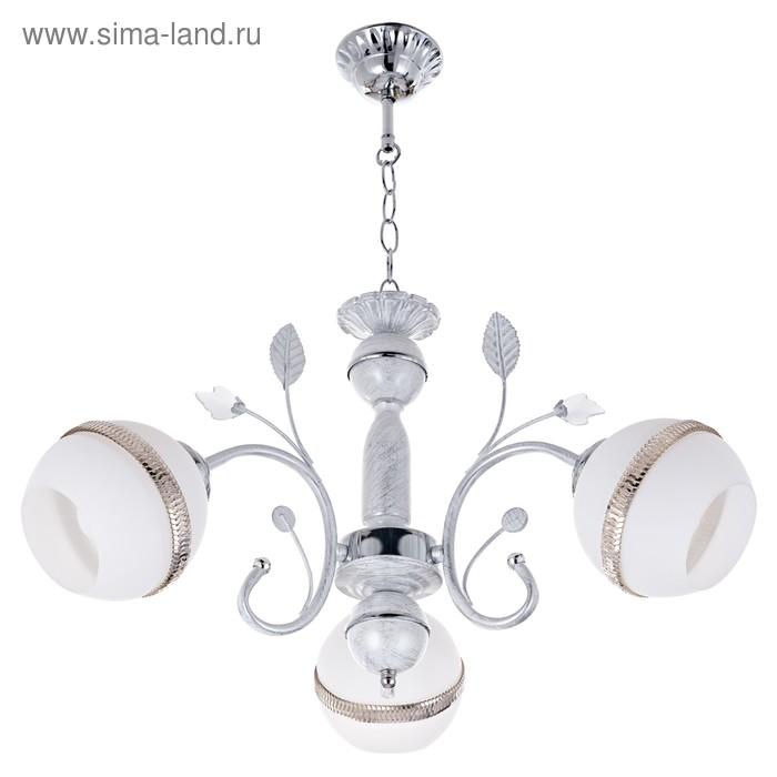 "Люстра потолочная ""Иллюзия"" 3 лампы Е27 белый,серебро 60х60х90"