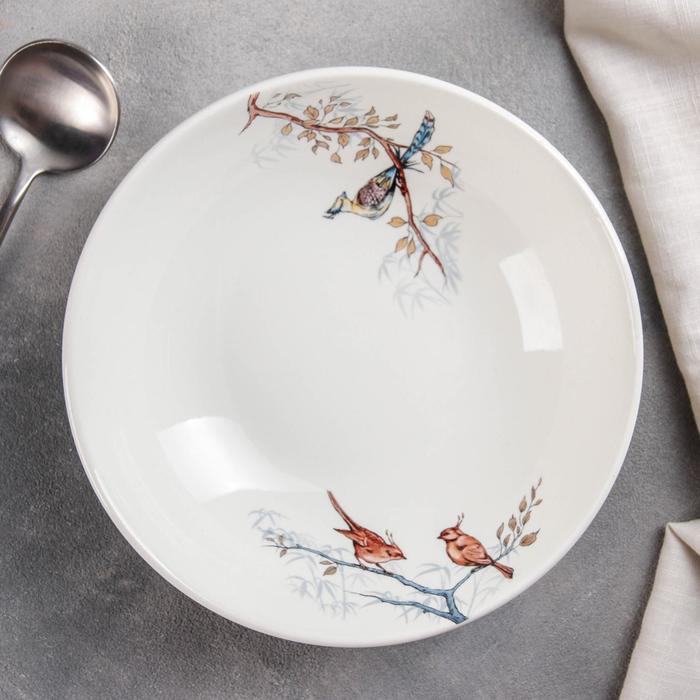 "Тарелка суповая 330 мл ""Соната. Птицы"", рисунок МИКС"
