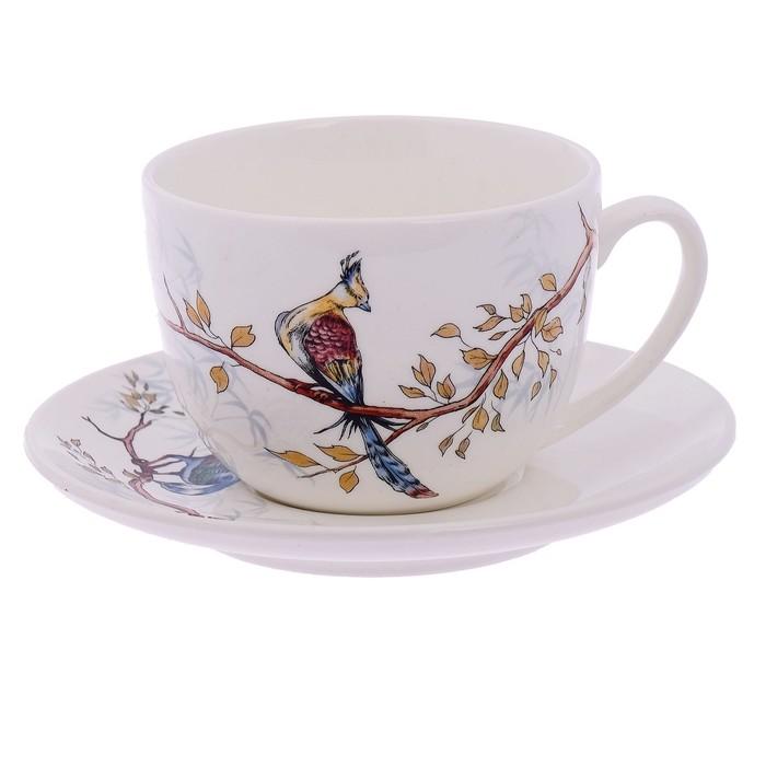 """Чайная пара 240 мл """"Соната. Птицы"""", рисунок МИКС"""
