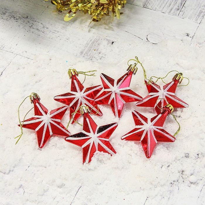 Набор украшений пластик (набор 6 шт) 6 см звезда красная