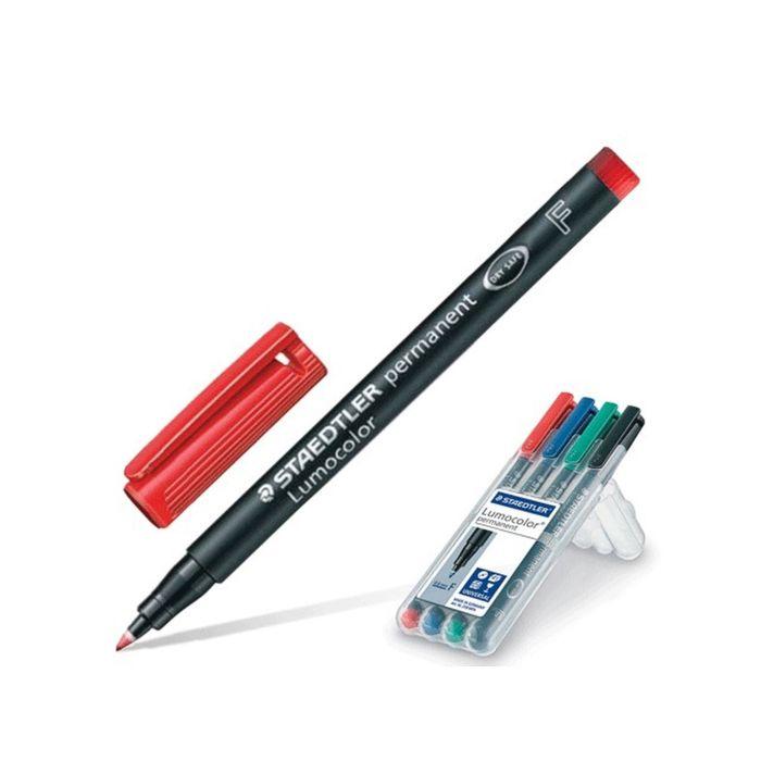 Набор маркеров перманентных 0.6 мм 4 цвета Staedtler Lumocolor, круглые