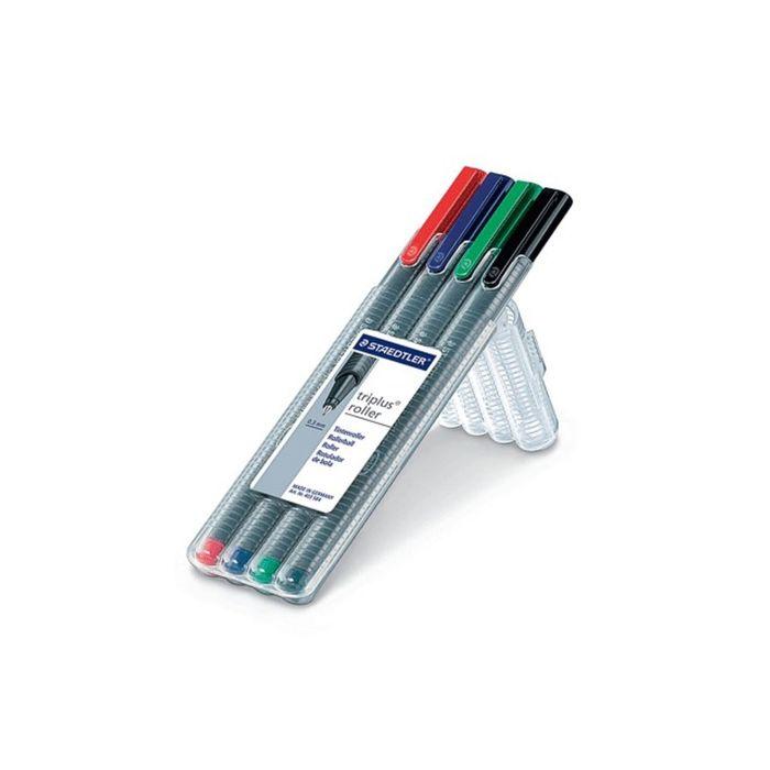 Набор ручек-роллеров 4цв. Staedtler Triplus 0,4мм, трехгран 403 SB4