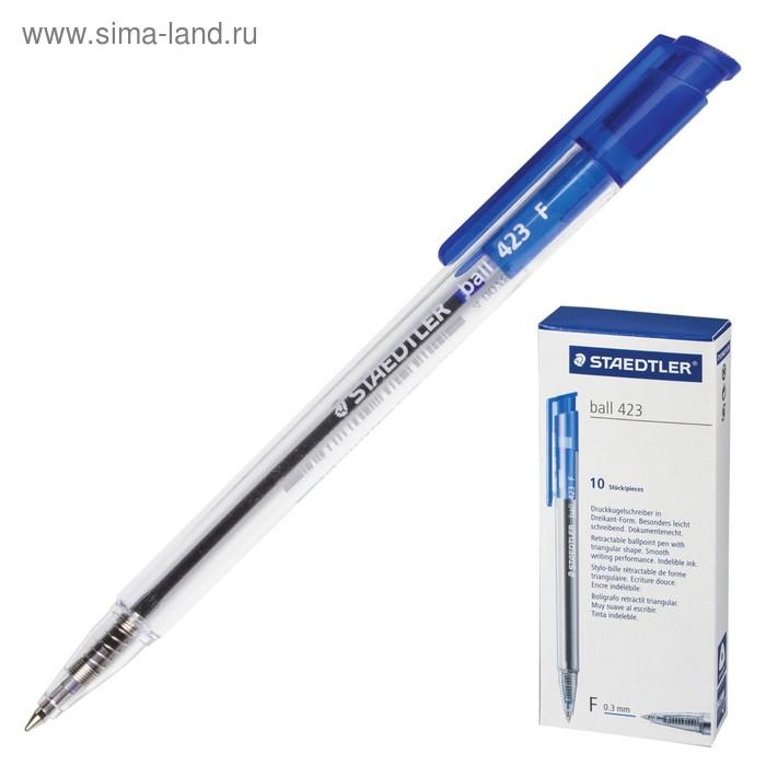 Ручка шариковая автомат Staedtler 0,45мм, синяя, корп. прозрачн 423 F-3