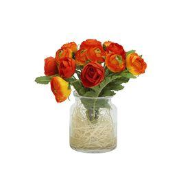 """Декоративные цветы """"Купальницы оранжевые"""", в стеклянной вазе"""
