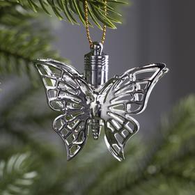 """Подвеска световая """"Бабочка серебряная"""" (батарейки в комплекте), 5,5 см, 1 LED, RGB"""