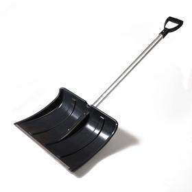 Лопата пластиковая, 500 × 375 мм, с алюминиевой планкой, алюминиевый черенок, «Снеговик»