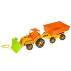 Трактор с ковшом и прицепом миккс