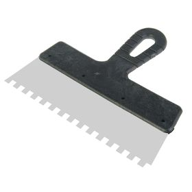 Шпатель зубчатый LOM, 250 мм, зуб 8 мм, нержавеющая сталь, ручка пластик (комплект из 4 шт.)