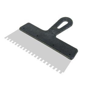 Шпатель зубчатый LOM, 250 мм, зуб 6 мм, нержавеющая сталь, ручка пластик (комплект из 4 шт.)