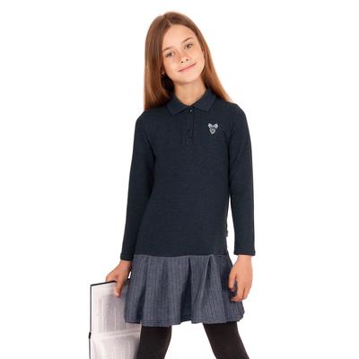 """Платье для девочки """"Школьная пора"""", рост 146 см (76), цвет тёмно-серый, принт сердце ДПД6858 26263"""