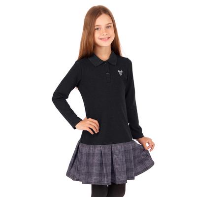 """Платье для девочки """"Школьная пора"""", рост 146 см (76), цвет антрацит, принт серце ДПД685858"""