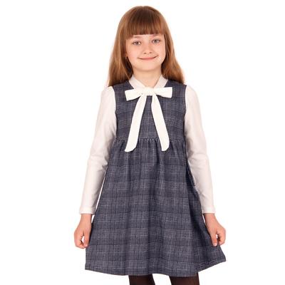 """Платье для девочки """"Школьная пора"""", рост 134 см (68), цвет черно-белый, принт клетка ДПД6822   26263"""