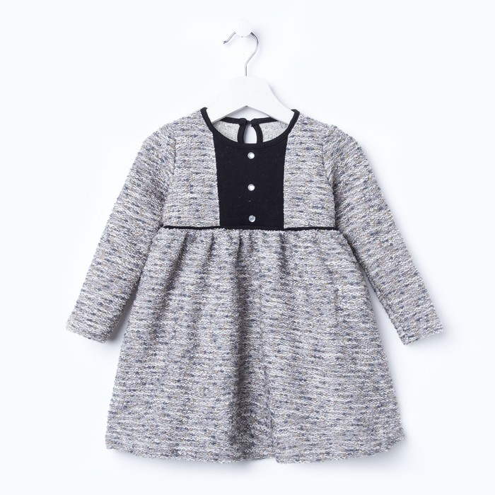 Платье для девочки «Крем и карамель», цвет серый/белый, рост 92 см - фото 105572623