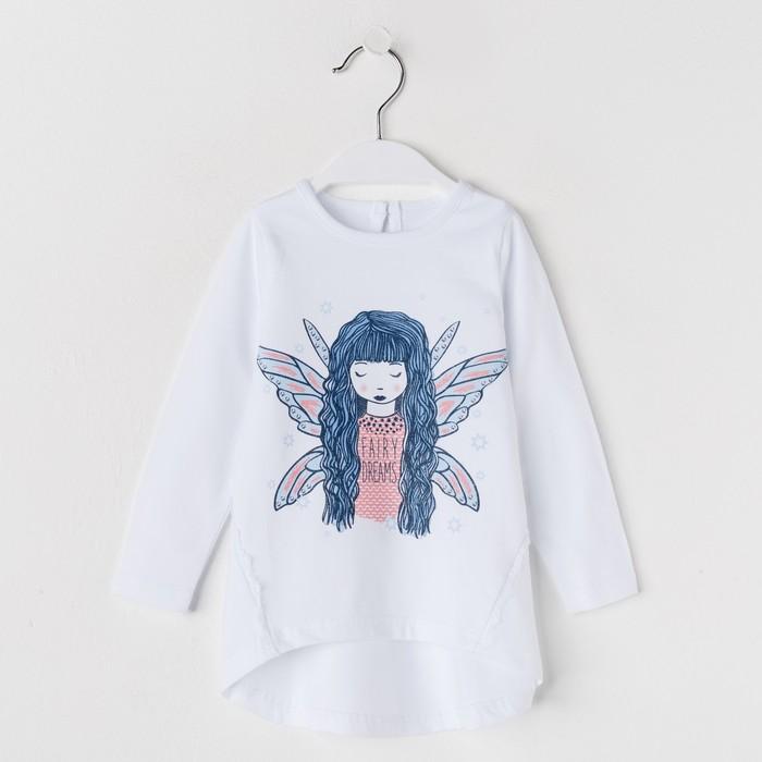Лонгслив для девочки «Страна чудес», рост 92 см (50), цвет белый, принт фея