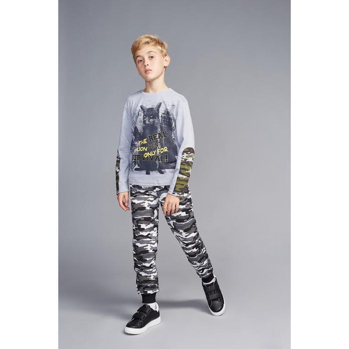 """Джемпер для мальчика """"Хищники"""", рост 116 см (60), цвет серый, принт лис ПДД391070"""