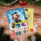 "Фреска-открытка ""С Новом годом!"" Микки Маус + 9 цветов песка по 2 гр, блестки 2 гр,стэка"