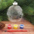 Новогоднее ёлочное украшение под роспись «Шар с пингвином» шар:3×10×11 см + краски