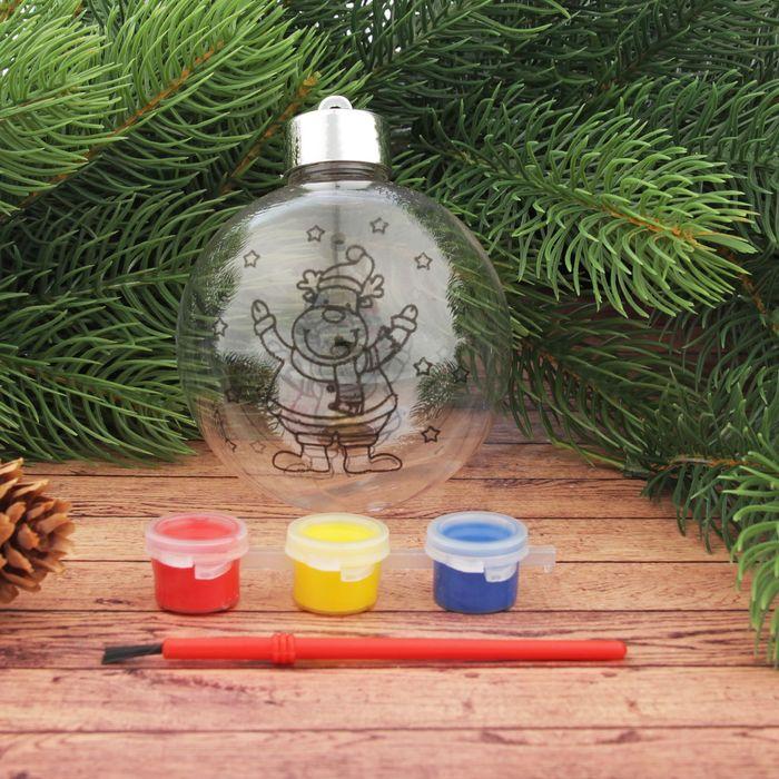 Новогоднее ёлочное украшение под роспись «Шар с оленем» шар: 8×9,5 см + краски - фото 101475