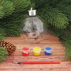 Новогоднее ёлочное украшение под роспись «Шар со Снеговиком и ёлочкой» шар: 8×9,5 см + краски