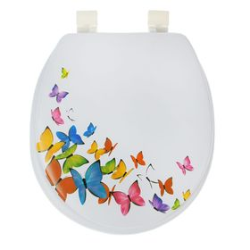 Сиденье для унитаза с крышкой «Бабочки», 40×37 см, мягкое